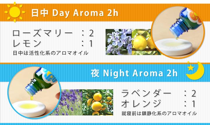 日中 Day Aroma 2h/ローズマリー:2、レモン:1(日中は活性化系のアロマオイル)|夜 Night Aroma 2h/ラベンダー:2オレンジ:1(就寝前は鎮静化系のアロマオイル)